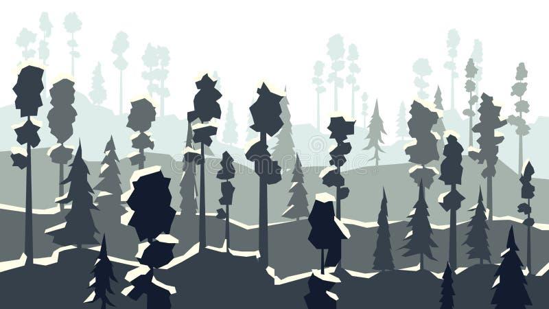 Karikatur des Winterkoniferenwaldes herein im dunkelblauen Ton stock abbildung