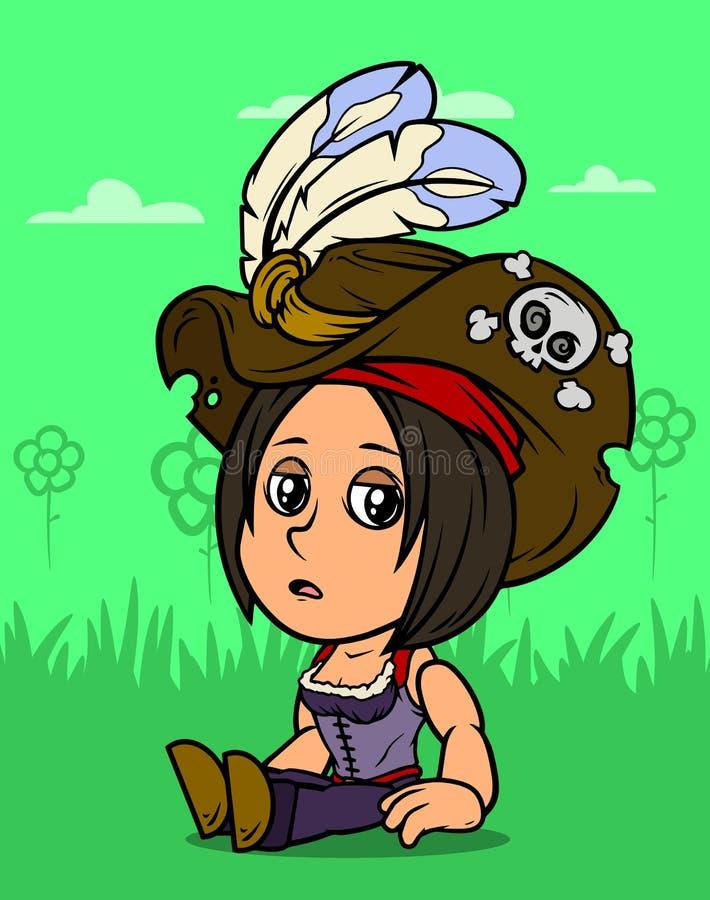 Karikatur, die brunette Piratenmädchencharakter sitzt stock abbildung