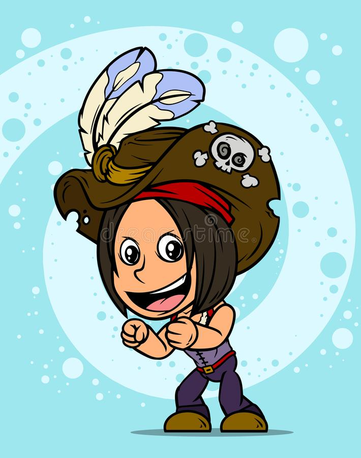 Karikatur, die brunette Piratenmädchencharakter steht stock abbildung