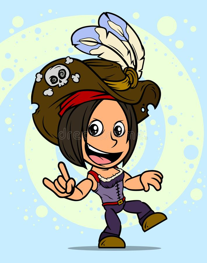 Karikatur, die brunette Piratenmädchencharakter tanzt vektor abbildung