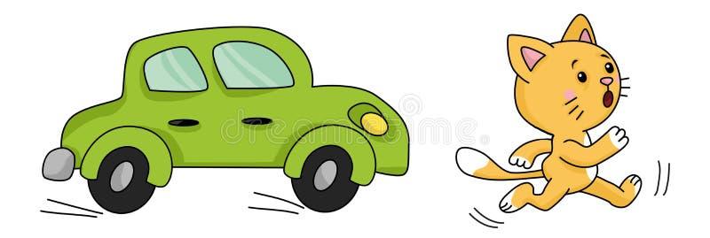 Karikatur, die eine Katze vom Auto laufen lässt stockbild