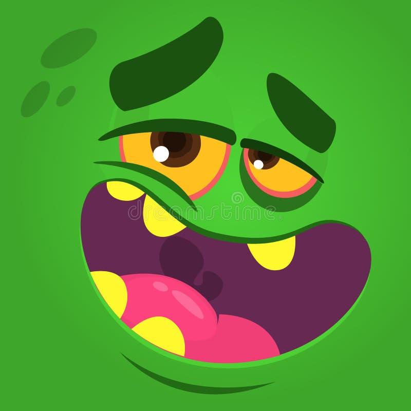 Karikatur, die lustiges Zombiegesicht lacht Vektorzombiemonster-Quadratavatara vektor abbildung