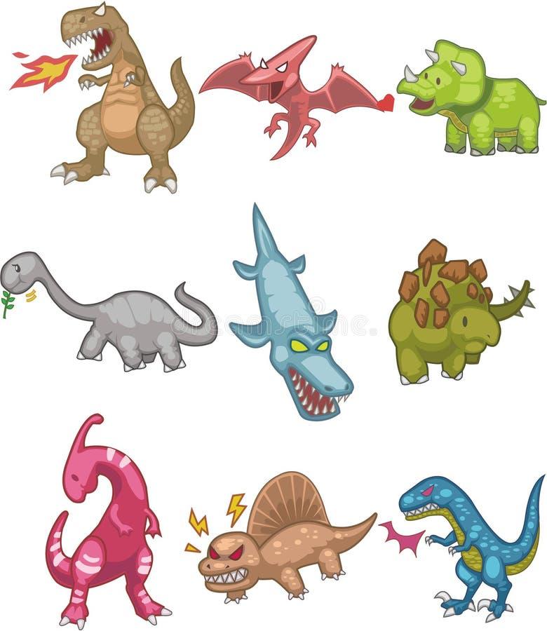 Karikatur-Dinosaurierikone lizenzfreie abbildung