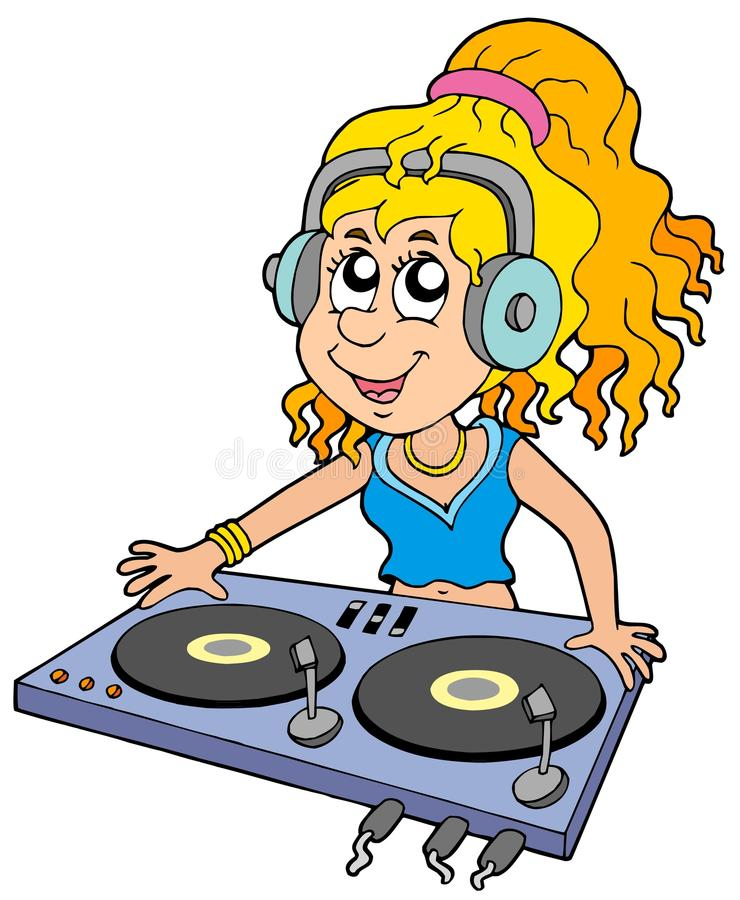 Karikatur DJ-Mädchen lizenzfreie abbildung