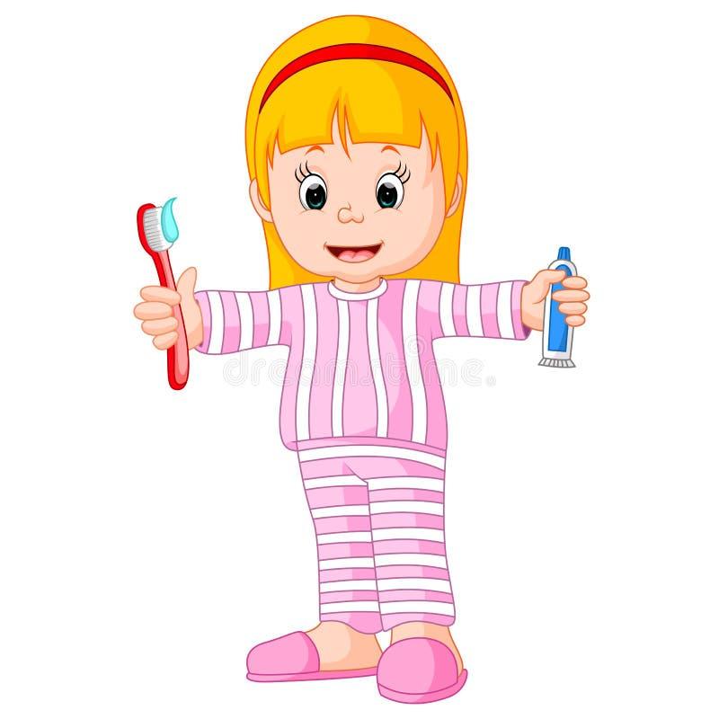 Karikatur ein junges Mädchen, das ihren Zahn putzt lizenzfreie abbildung