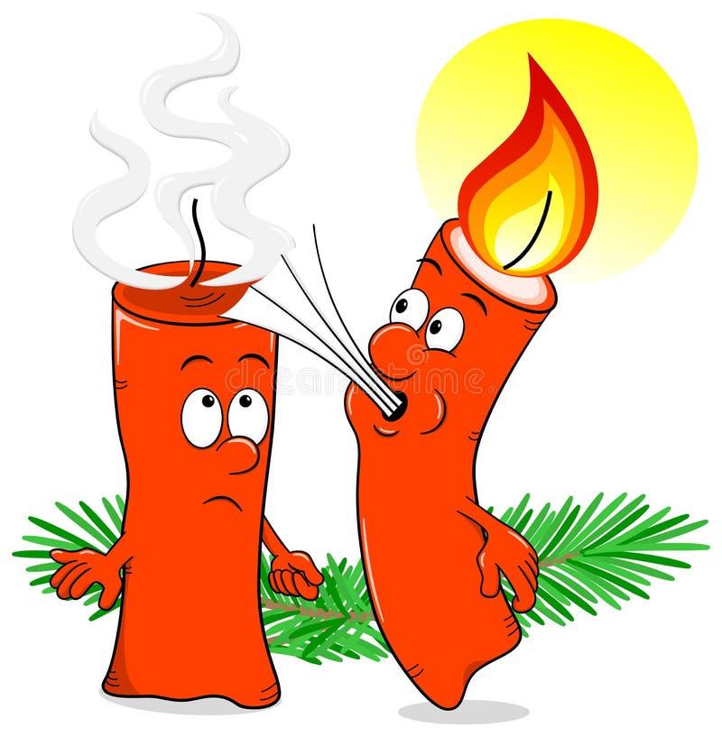 Karikatur einer Weihnachtskerze, die heraus eine andere Kerze durchbrennt vektor abbildung