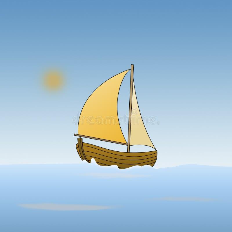 Karikatur eines Bootes im Meer vektor abbildung