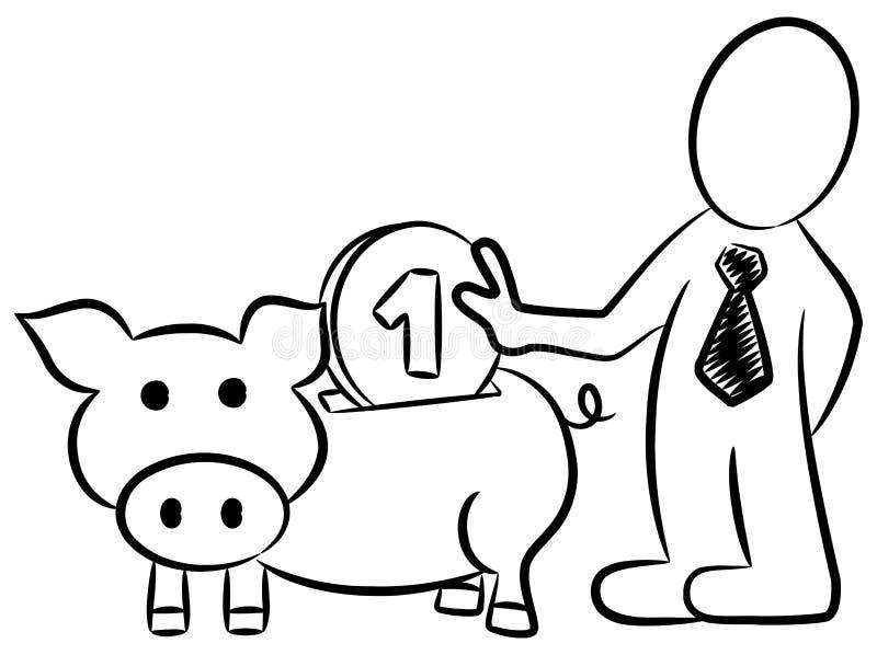 Karikatur eines Geschäftsmannes, der Geld in ein pigg steckte lizenzfreie abbildung