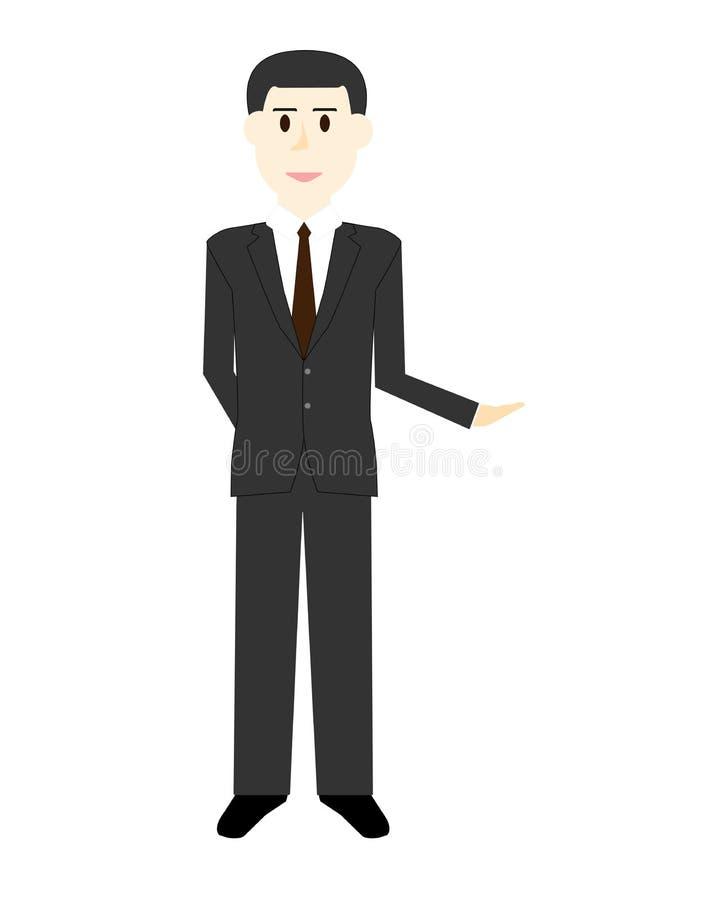 Karikatur eines hübschen jungen Geschäftsmannes in den verschiedenen Haltungen stockfotografie