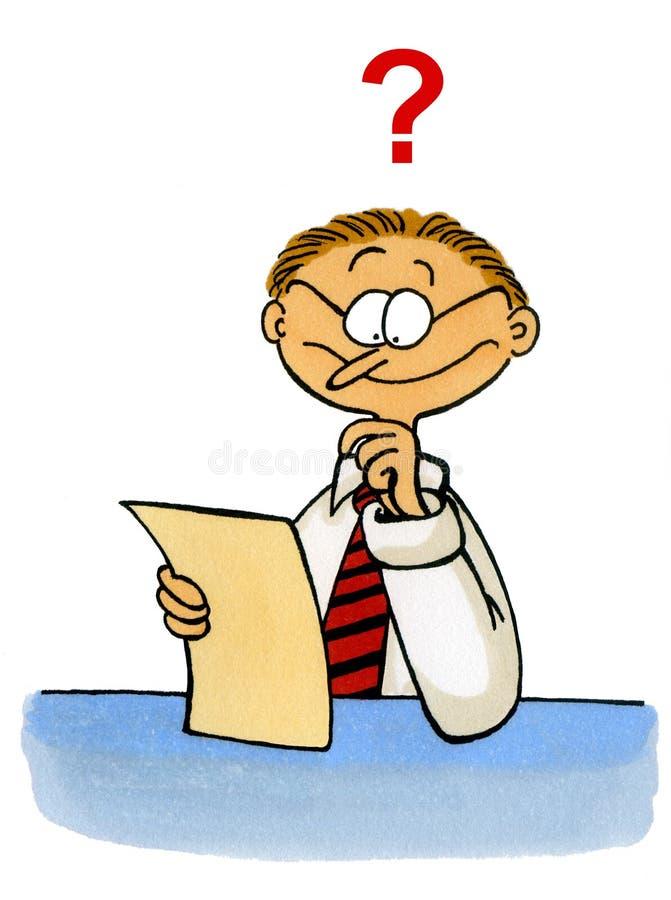 Karikatur eines Mannschauens verwirrte an einem Dokument stock abbildung