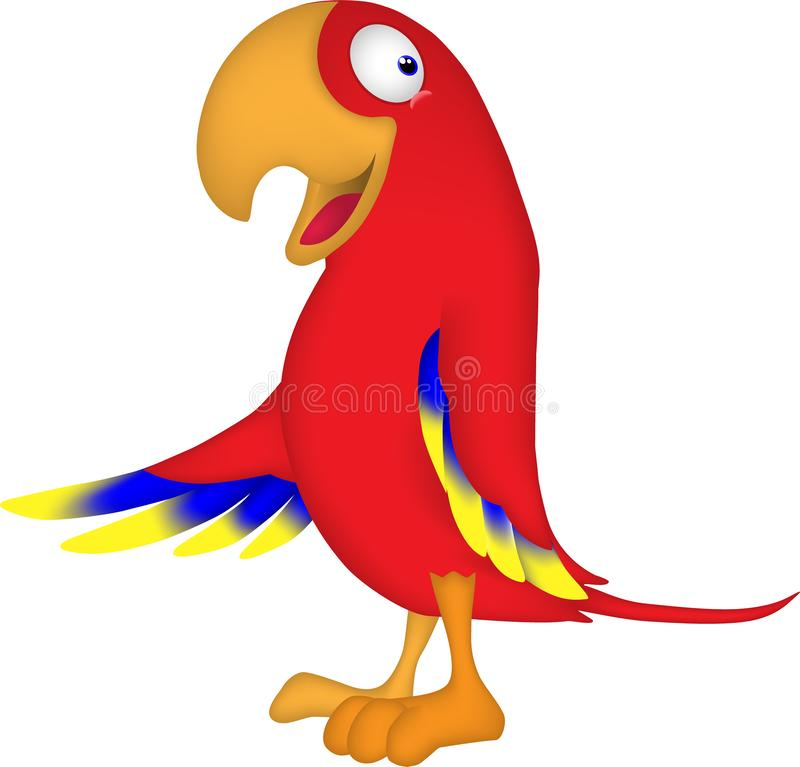 Karikatur eines Papageien, der die Welt grüßt stockbild