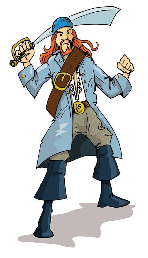 Karikatur eines Piraten mit einer Machete lizenzfreie abbildung