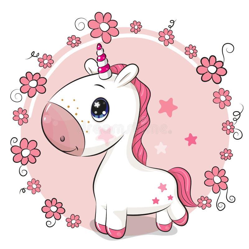 Karikatur-Einhorn auf einem Blumenhintergrund lizenzfreie abbildung