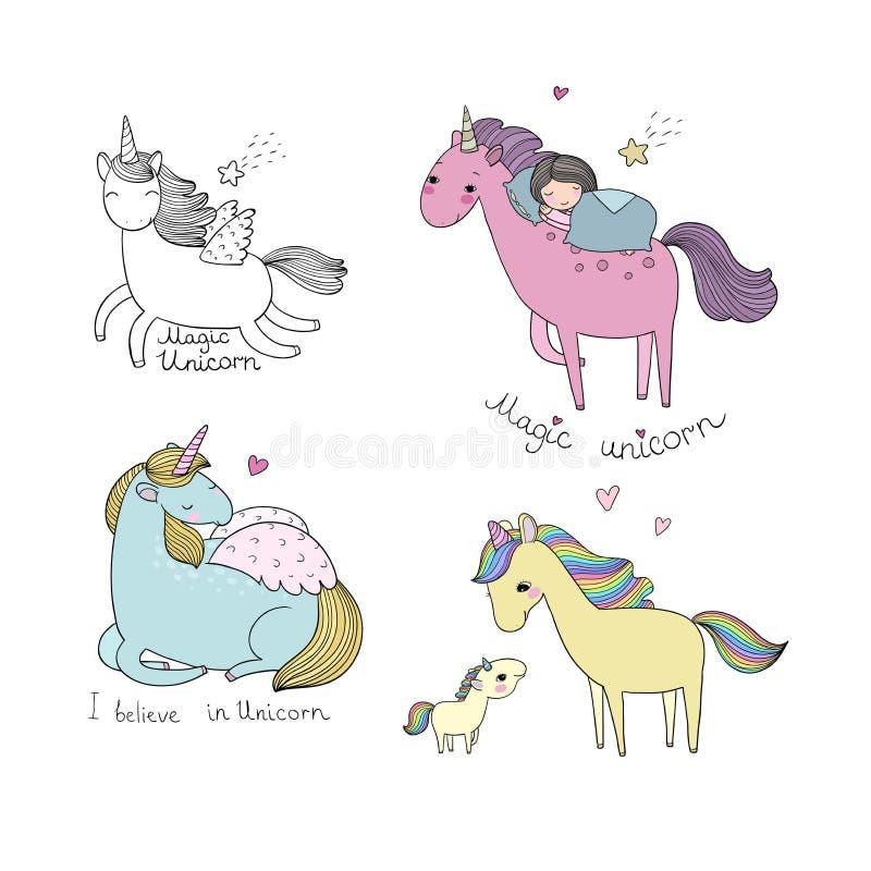 Karikatur-Einhorn Mythisches Tier netter Pegasus - Vektor stock abbildung
