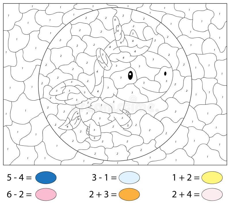 Karikatur-Einhorn Zusatz- und Abzugaufgaben Farbe durch Zahl vektor abbildung