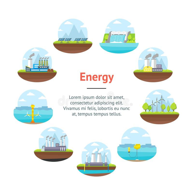 Karikatur-Energiegewinnungs-Fahnen-Karten-Kreis Vektor vektor abbildung