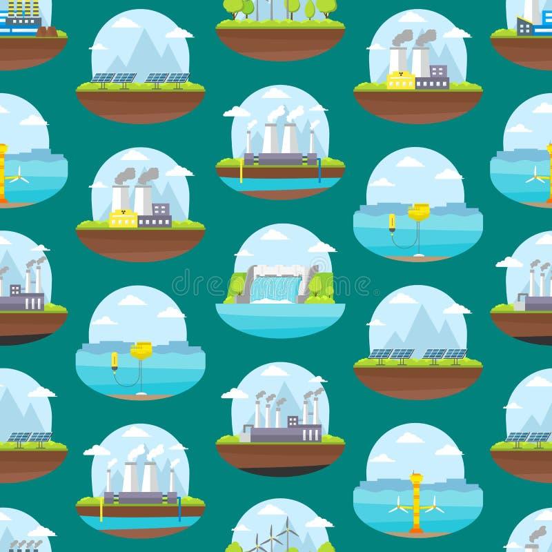 Karikatur-Energiegewinnungs-nahtloser Muster-Hintergrund Vektor lizenzfreie abbildung