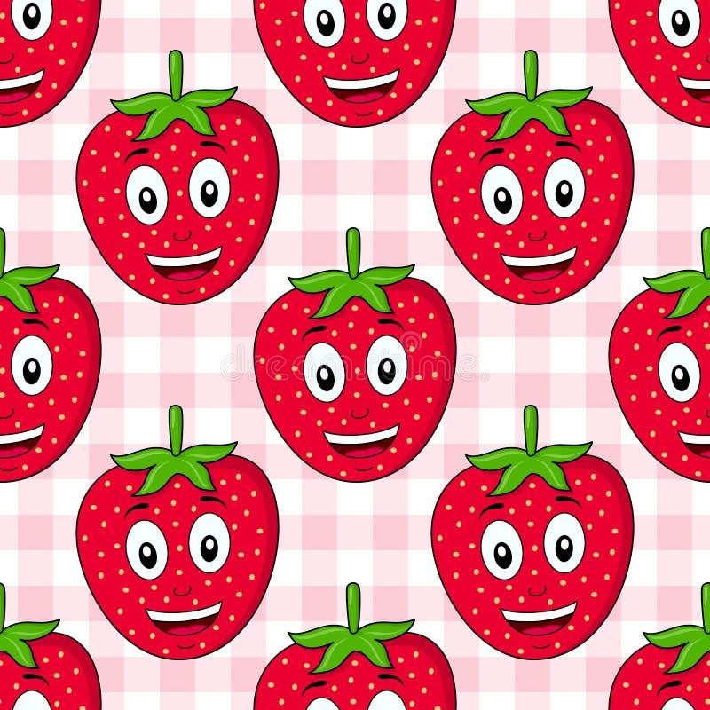 Karikatur-Erdbeernahtloses Muster vektor abbildung