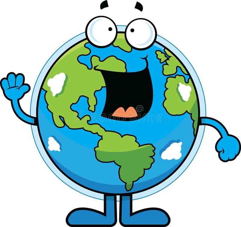 Karikatur-Erde glücklich vektor abbildung