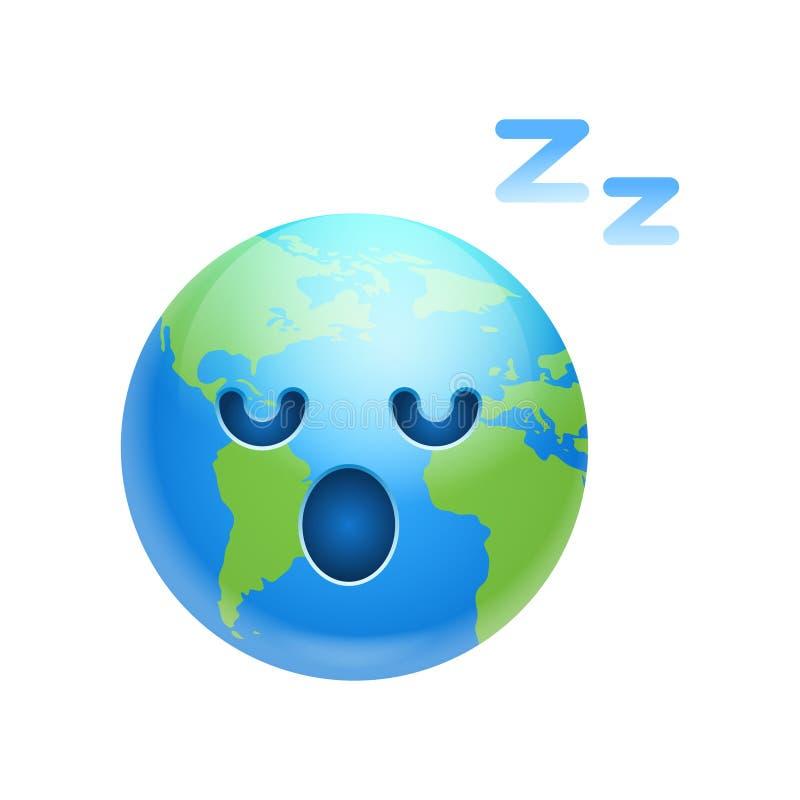 Karikatur-Erdgesicht müdes Schlafenikonen-lustiges Planeten-Gefühl stock abbildung