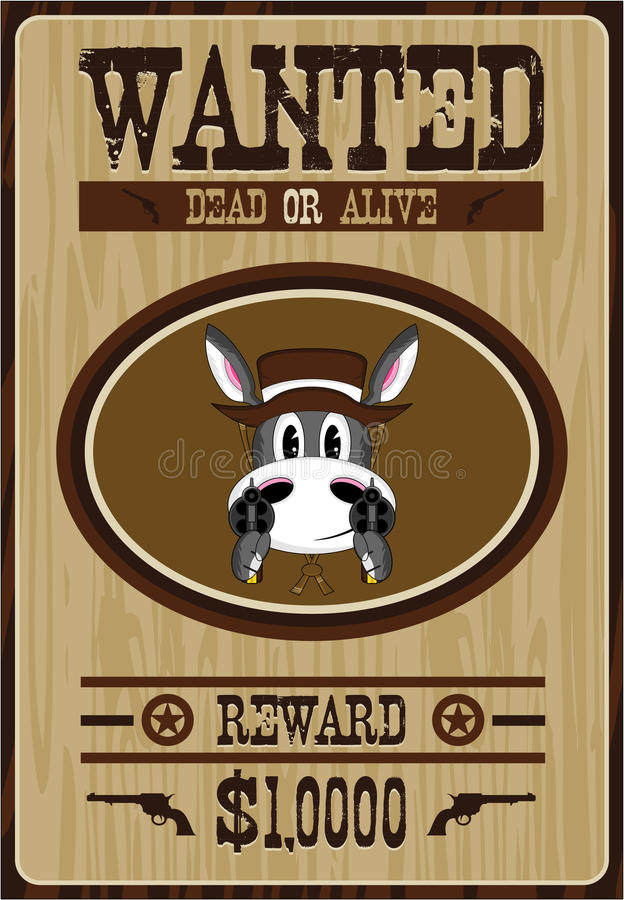 Karikatur-Esel-Cowboy Wanted Poster stock abbildung