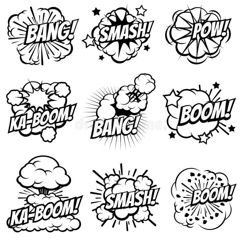 Karikatur explodieren Ikonen Comic-Buch-Explosionsblasen Pop-Arten-Urknall und Boomrauchwolkenvektorsatz stock abbildung