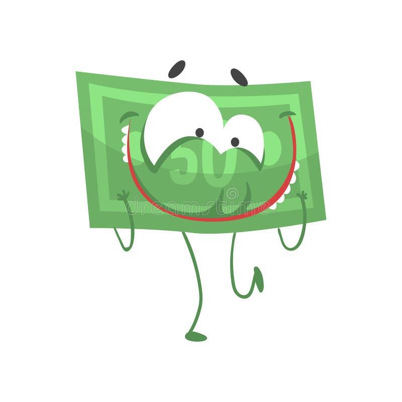 Karikatur fünfzig Dollar mit Gesicht, den Armen und den Beinen Glücklicher Geldcharakter in der flachen Art Lokalisierte Vektoril lizenzfreie abbildung