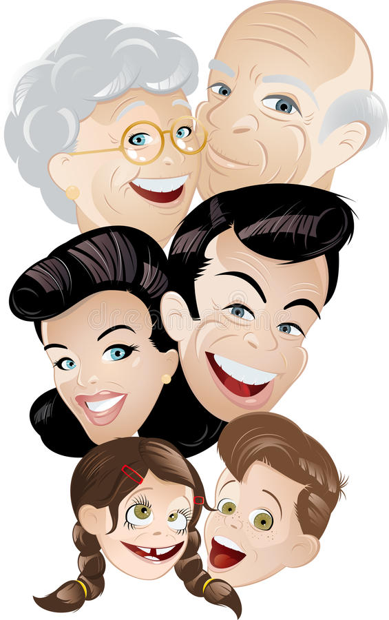 Karikatur-Familie lizenzfreie abbildung