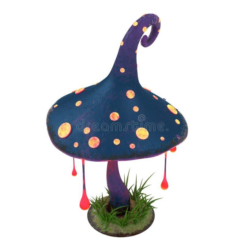Karikatur-Fantasie-magischer glühender Pilz auf Weiß lokalisiertem Hintergrund Abbildung 3D vektor abbildung