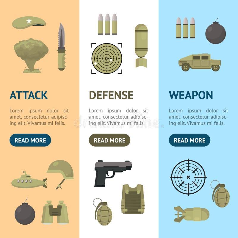Karikatur-Farbarmee-Waffen-Fahne Vecrtical-Satz Vektor stock abbildung