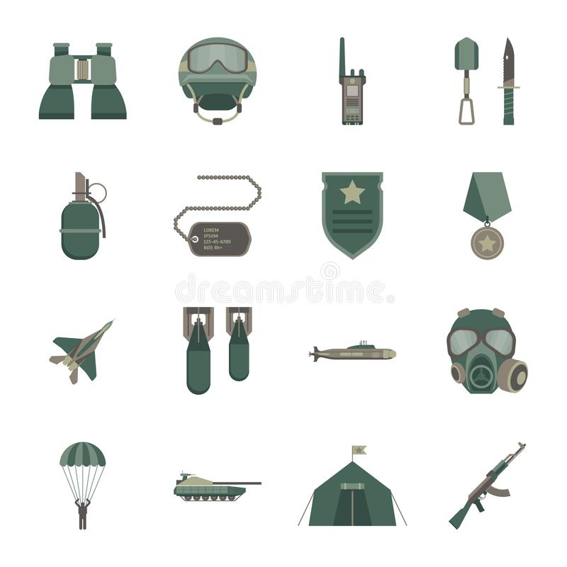 Karikatur-Farbarmee-Waffen-Ikonen eingestellt Vektor lizenzfreie abbildung