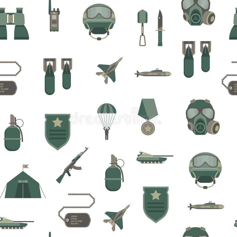 Karikatur-Farbarmee-Waffen-nahtloser Muster-Hintergrund Vektor vektor abbildung