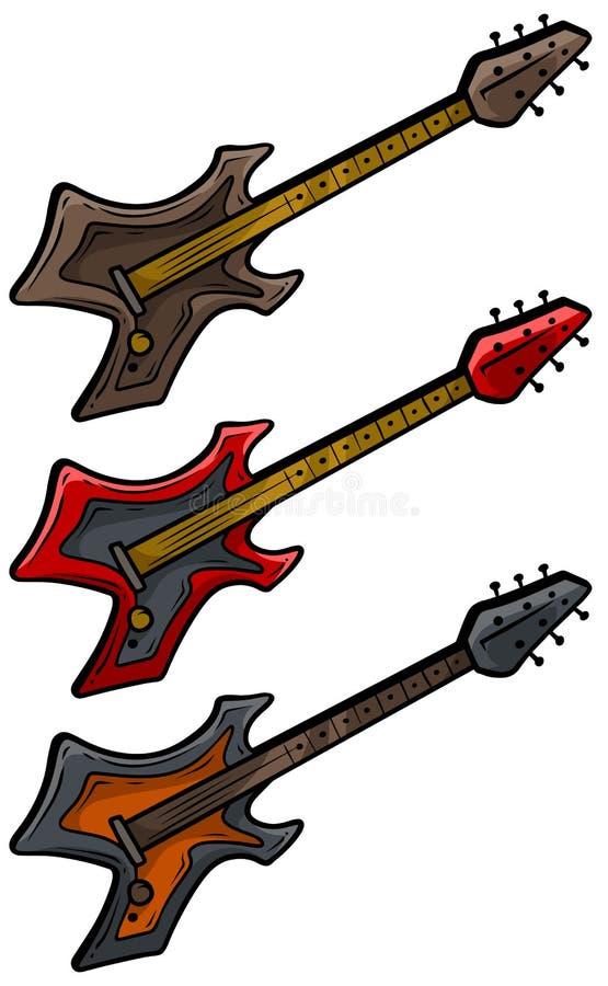 Karikatur farbiger elektrischer Metallfelsen-Gitarrensatz lizenzfreie abbildung