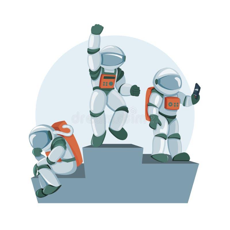 Karikatur flache Berufs-spacemans emotionaler Triumph, Gewinnen und Sieg vektor abbildung