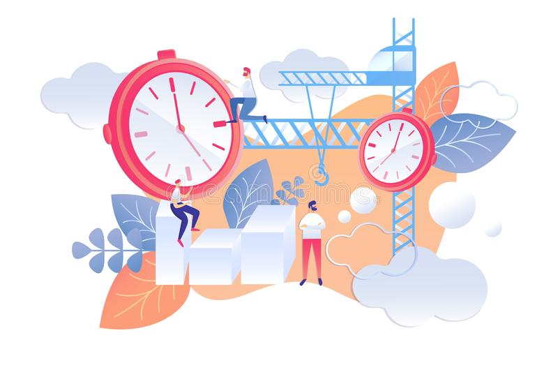 Karikatur-flacher Plan für am nächsten Tag Zeit-Management lizenzfreie abbildung