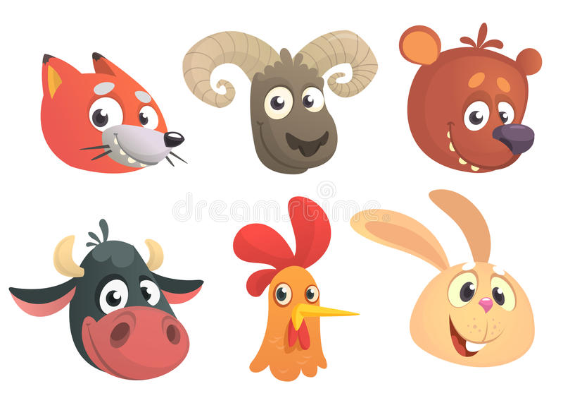 Karikatur Forest Animals Auch im corel abgehobenen Betrag Fox, Schafe, Bär, Kuh, Hahn oder Huhn, Kaninchen lizenzfreie abbildung