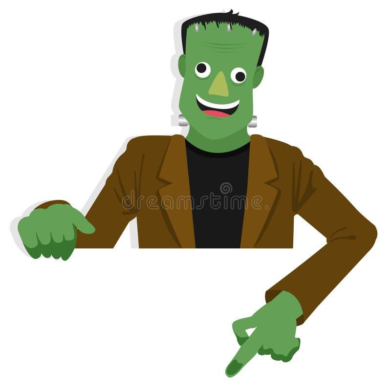 Karikatur Frankenstein-Charakter für Halloween-Anlagegut zeigend unten hinter Papier lizenzfreie abbildung