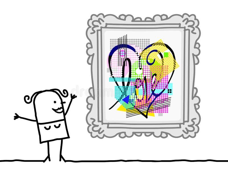 Karikatur-Frau, die einen Knall Art Style Heart aufpasst lizenzfreie abbildung