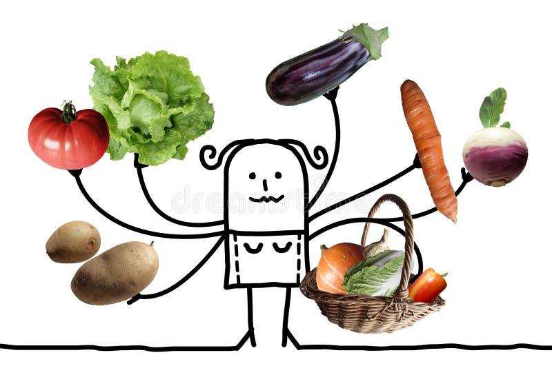 Karikatur-Frau mit der multi Gemüse-Ernte lizenzfreie abbildung