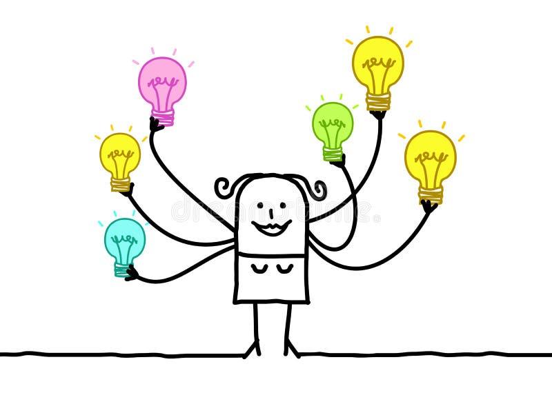 Karikatur-Frau mit multi Glühlampen stock abbildung