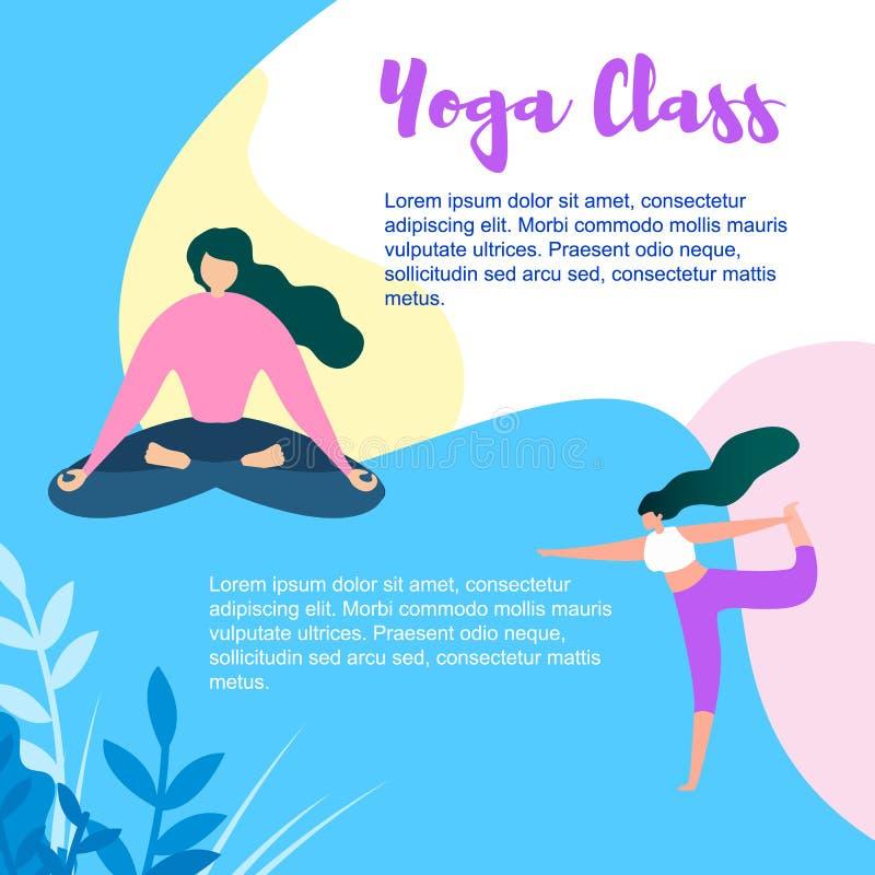 Karikatur-Frauen-Übung und in der Yoga-Klasse meditieren lizenzfreie abbildung