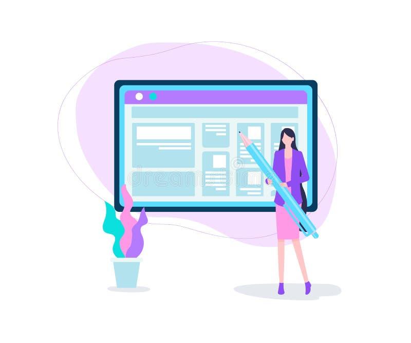 Karikatur-Frauen-Griff Pen Computer Screen Blog Post stock abbildung