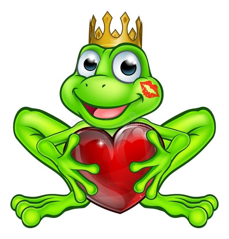 Karikatur-Frosch-Prinz mit Liebes-Herzen stock abbildung