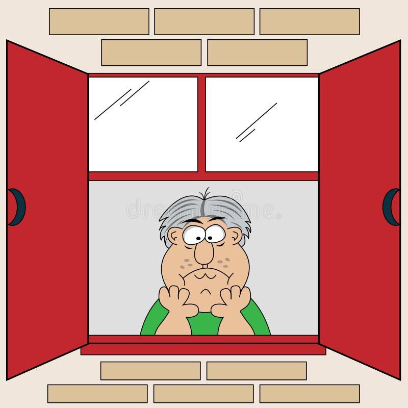 Karikatur gebohrter alter Mann am Fenster lizenzfreie abbildung