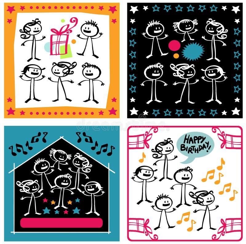 Karikatur-Geburtstage lizenzfreie abbildung