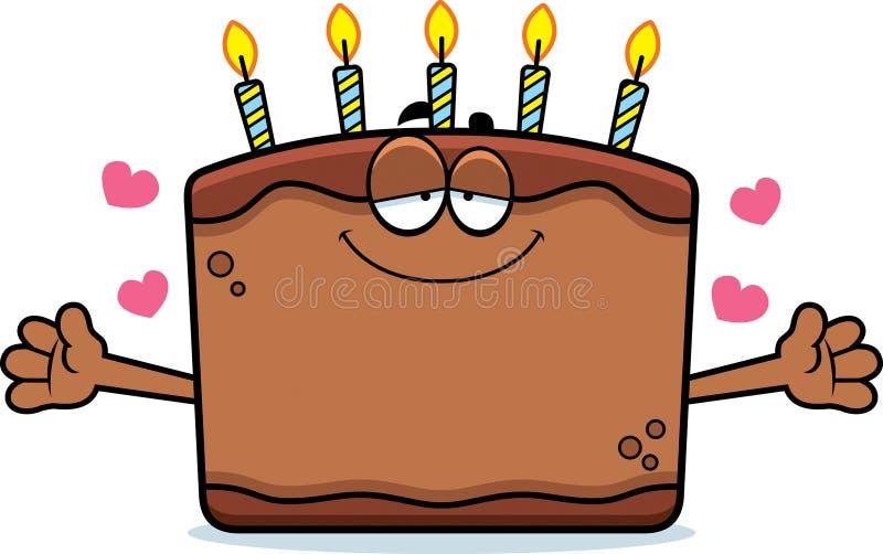 Karikatur-Geburtstags-Kuchen-Umarmung lizenzfreie abbildung