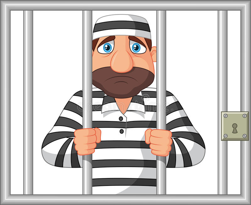 Karikatur-Gefangener hinter Stange vektor abbildung
