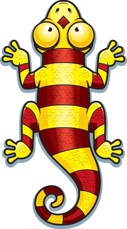 Karikatur-gelbe und rote Eidechse vektor abbildung