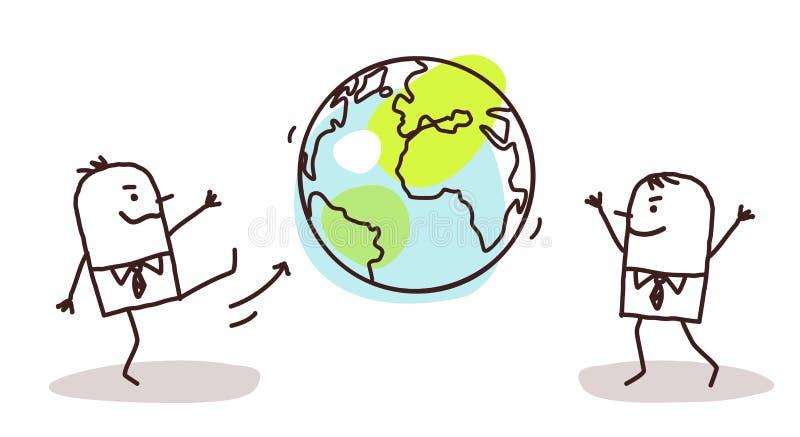 Karikatur-Geschäftsmänner, welche die Erde treten stock abbildung