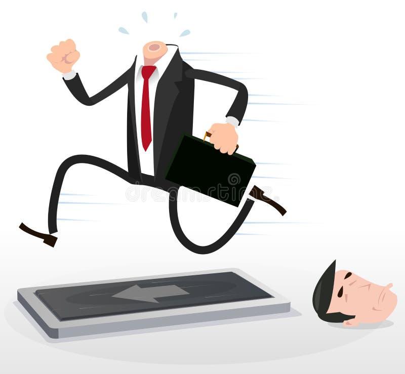 Karikatur-Geschäftsmann auf einer Tretmühle vektor abbildung